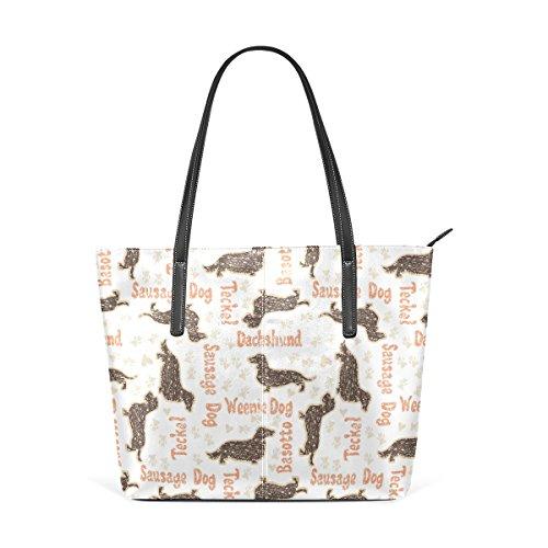 COOSUN Textured Dackel Hunde PU Leder Schultertasche Handtasche und Handtaschen Tasche für Frauen