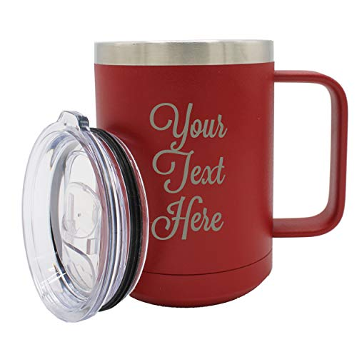 - Custom Personalized 15 oz Insulated Coffee Mug Travel Tumbler with Handle and Lid - Monogrammed and Engraved with Your Text (Maroon)