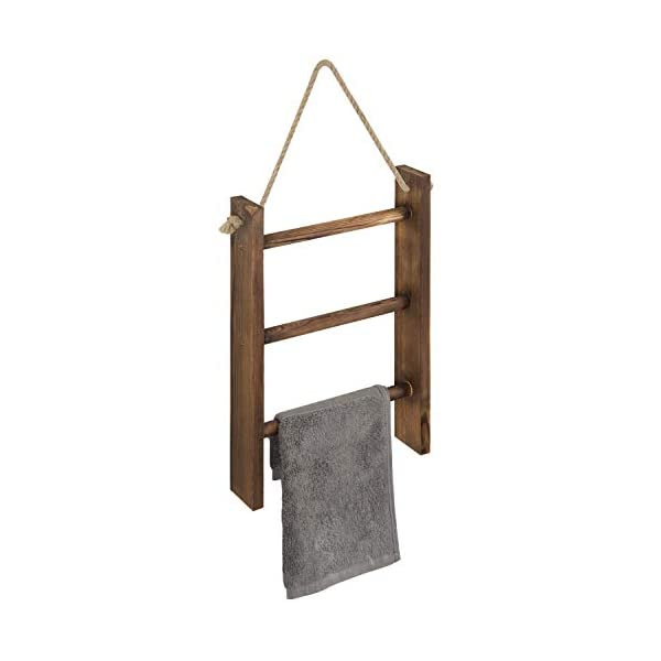 MyGift 3-Tier Mini Rustic Gray Wood Wall-Hanging Hand Towel Storage Ladder with Rope