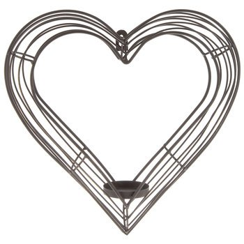Amazon.com : Brown Metal Heart Wall Sconce Candle Decor Home ...