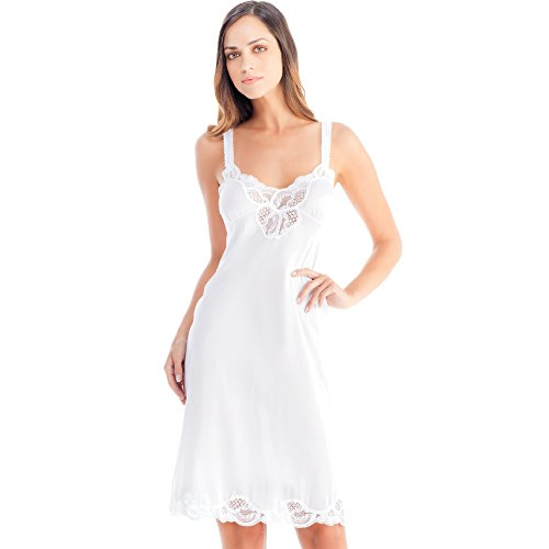 Ilusion 2012 - Lace Trim Satin Full Slip - White, Size 34 ()