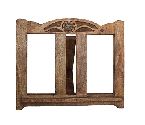 Wooden Hand Carved Kitchen Cookbook Stand Recipe Music Book Holder with Multipurpose Book Reading iPad Stand Adjustable