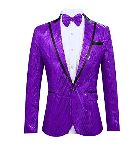 RDHOPE-Men Premium Pea Coat Sequin Glitter Suit Jacket Blazer Coat Purple XL