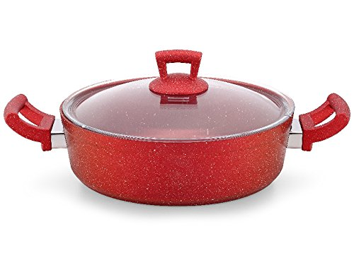 28 cm/7.3 L Non Stick Granite Shallow Pot Pan Cookware Casserole with Lid PFOA Free (Red) GEEZY