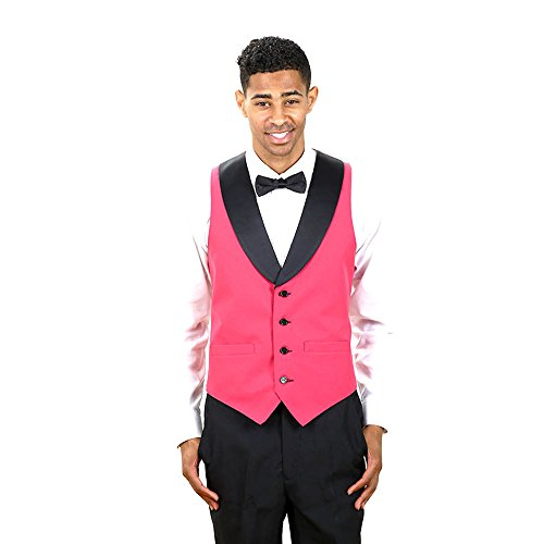 Black Full Back Tuxedo Vest - Men's Fuschia Full Back Tuxedo Vest with Black Lapel Medium