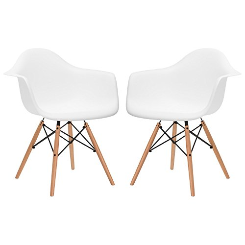 Poly and Bark Vortex Arm Chair, White, Set of 2 For Sale