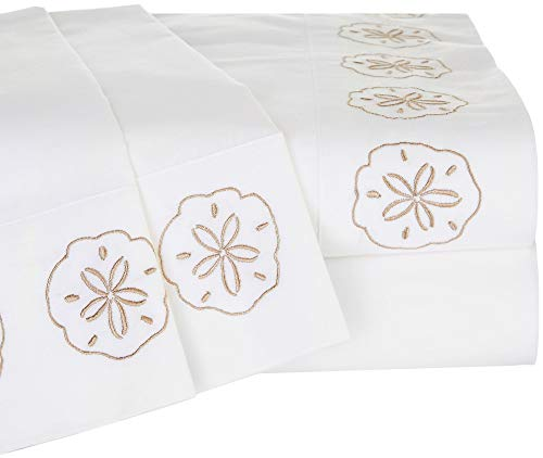 (Panama Jack Embroidered Sand Dollar Sheet Set Queen White/Beige)