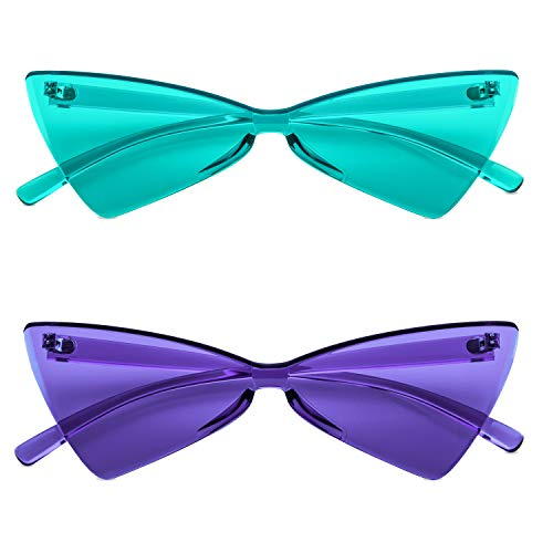 Colorful One Piece Rimless Transparent Cat Eye Sunglasses for Women Tinted Candy Colored Glasses (b025 lake blue+purple)