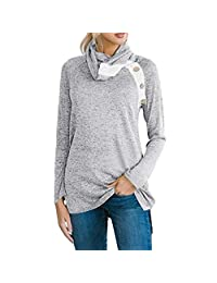 FarJing Womens Cowl Neck Button Sweatshirts Casual Loose Tunic Tops T-Shirt Blouse