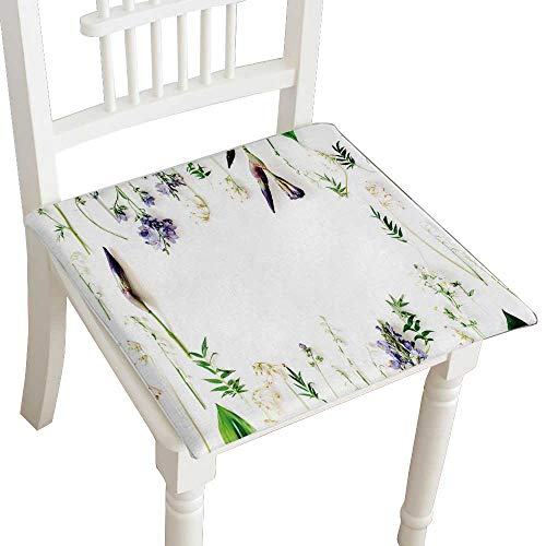 - HuaWuhome Chair Pads Classic Design Floral Frame with Purple iris Flower Lily of The Valley Branches Leaves and petalsisolated on Cotton Canvas Futon 32