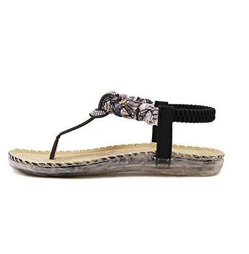 Minetom Damen Mode Sommer Sandalen Böhmischen Stil Schuhe Flacher Absatz Pantoffeln Neu Schwarz