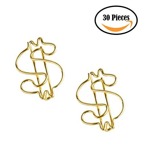 Joyci 30-Pack Gold Novel Shaped Paper Clip Memo Holder Bookmark Organizer Photo Clip Art Office Supply Accessories (Dollar)