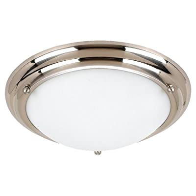 Sea Gull Lighting 2-Light Centra Close-To-Ceiling Fixture, Satin White Glass