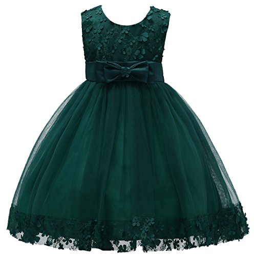 2-10T Big Little Girl Ball Gown Short Lace Flower Tulle Boutique Dresses for Wedding Party Evening Dance Green 6