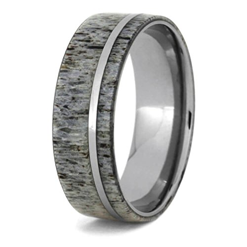Deer Antler 8mm Comfort-Fit Titanium Wedding Band, Size 9 by The Men's Jewelry Store (Unisex Jewelry) (Image #3)