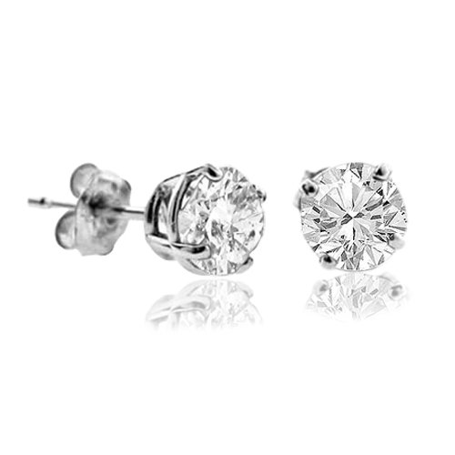 1 CARAT Platinum Plated Silver,1ctw Screw Back,H Color White Moissanite Simulated Diamond Stud Earrings (5mm-1ctw) ()