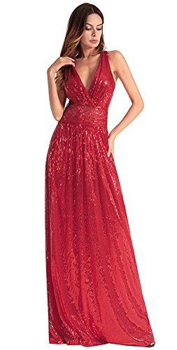 Party Dress for Women Sparkle Elegant Sequins Long Prom Gown Cocktail (Red, ()