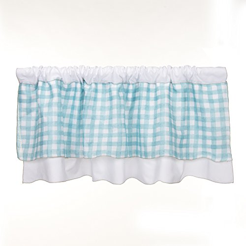 Glenna Jean Cottage Collection Willow Window Valance, White with Spa Plaid, 70