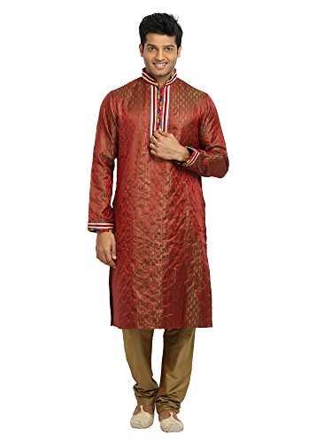 Saris and Things Tomato Red Indian Wedding Kurta Pajama Sherwani for Men by Saris and Things