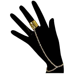 Nickel Free Ringcelet Chain Ring To Wrist Bracelet , in Gold Tone