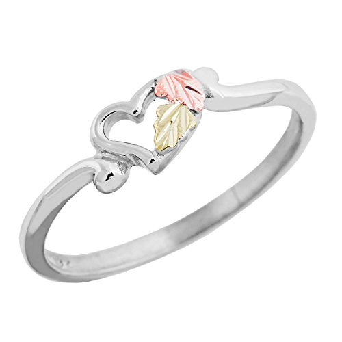 Slim-Profile Open Heart Ring, Sterling Silver, 12k Green and Rose Gold Black Hills Gold Motif, Size 7