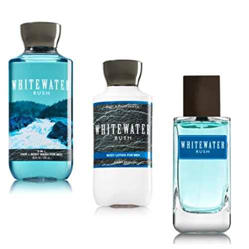 BATH AND BODY WORKS, GIFT SET WHITE WATER RUSH,LOTION,BODY WASH,COLOGNE SPRAY.. - Blue Bath Waters Set