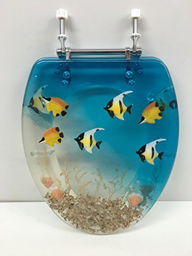 ELONGATED BLUE AQUARIUM FISH RESIN TOILET SEAT, CHROME HI...