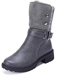 Women's Warm Winter Boots Round Toe Leather Chunky Low...