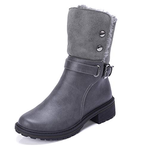 CAMEL CROWN Women's Warm Winter Boots Round Toe Leather Chunky Low Heel Faux Fur Winter Riding Boots Zipper Buckle Strap,Grey,8.5 M US