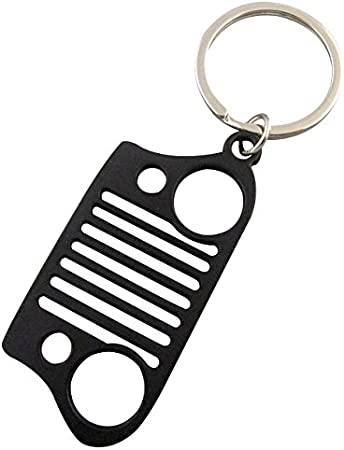 PerfecTech New Style Stainless Steel Jeep Grill Key Chain KeyChain Car Key KeyRing CJ JK TJ YJ XJ Pink