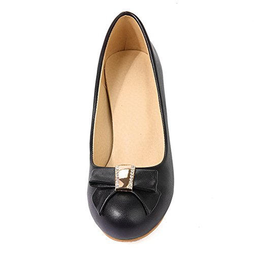 Round Toe WeenFashion Pumps Women's PU Heels Shoes Solid Pull On Black Kitten qUwOqA6
