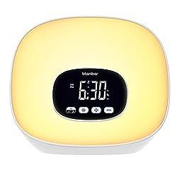 Sunrise Alarm Clock Blonbar Wake Up Light Alarm Clock for Bedrooms, 7 Colored Night Light Alarm Clock with Radio, Snooze, Adjustable Brightness and Touch Control for Kids