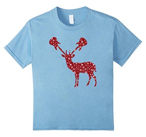 Word Girl Costume Pattern (Kids Funny Reindeer Silhouette T-Shirt Guitar Antlers Snowflakes 6 Baby Blue)