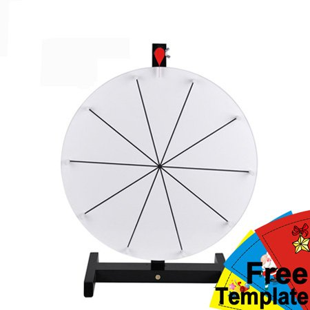 16'' White Tabletop Spinning Prize Wheel 10 Slots with Color Dry Erase by Generic