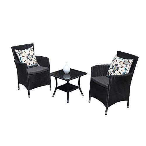 - PATIORAMA 3PC Patio Outdoor Rattan Furniture Set Cushioned Garden Table and Chairs with Gray Cushions, Black PE Wicker
