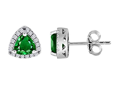 Star K Trillian Simulated Emerald Halo Earring Studs Sterling Silver ()