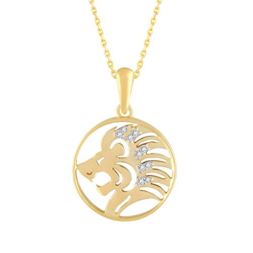 Silvernshine Jewels New D/VVS1 Diamond Leo Zodiac Pendant Necklace in 14K Yellow Gold Fn
