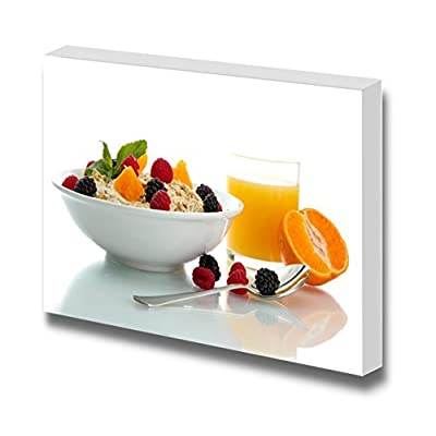 Canvas Prints Wall Art - Tasty Oatmeal with Berries and Glass of Juice, Isolated on White - 24