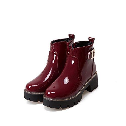Caviglia Piattaforma Cerniera Tacco Vernice Donne Lucksender Vino Quadrato Stivali Laterale Rosso Fibbia 10Ht8wxq