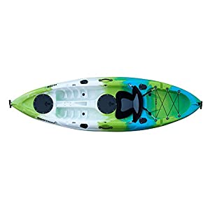 Driftsun Teton 90 Hard Shell Recreational Kayak, Single Person Sit On Top Kayak Package with EVA Padded Seat, Includes Aluminum Paddle and Fishing Rod Holder Mounts