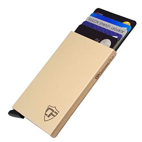 Card Blocr Metal Credit Card Holder Slim RFID Blocking Minimalist Credit Card Wallet for Men (Gold Aluminum) (Best Credit Card For 610 Credit Score)