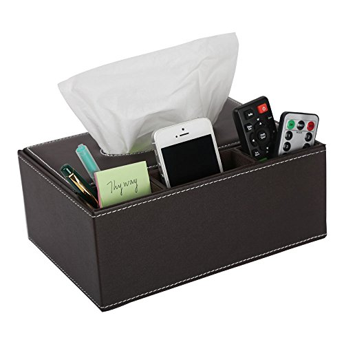 ThyWay Multifunction PU Leather Pen Pencil Remote Control Tissue Box Cover Holder Desk Storage Box Container for Home and Office Use (Coffee)