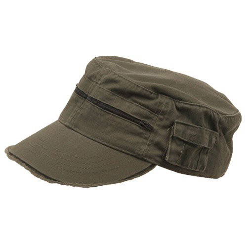 Enzyme Frayed Army Caps - MG Zippered Enzyme Army Cap-Olive OSFM