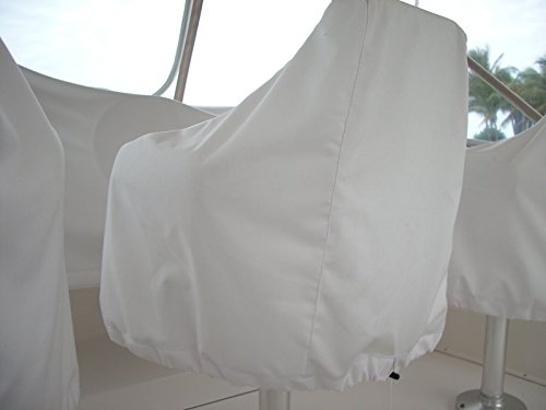Universal Boat Seat/Captain's Chair Seat Cover, Boat Canvas, BEST QUALITY! (White)