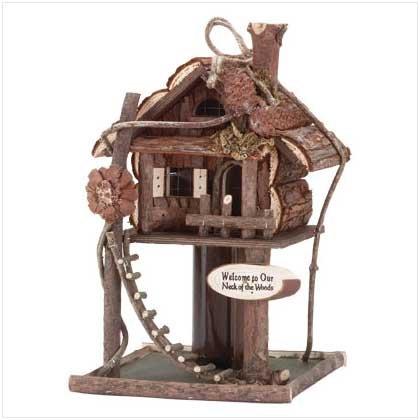 Gardirect Wooden Bird Treehouse Birdhouse Log Cabin Tree Gift - Spy Alabama Shop