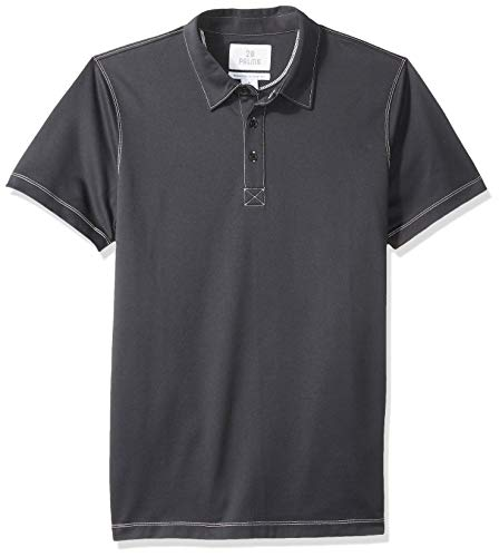 28 Palms Men's Relaxed-Fit Performance Cotton Tropical Print Pique Golf Polo Shirt, Black Solid, XX-Large ()