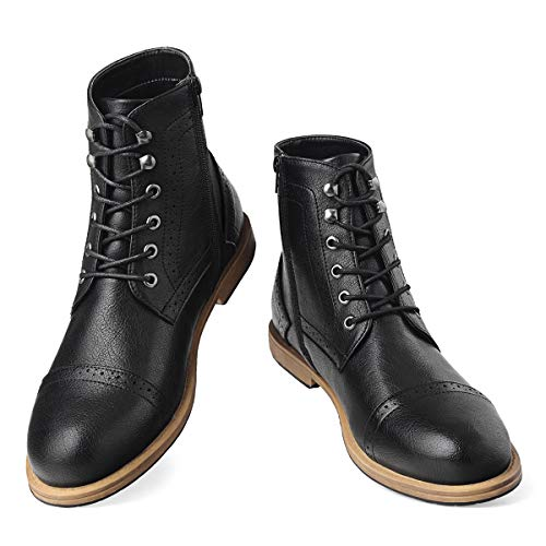 Men's Dress Boots Brogue Oxfords-Cap Toe Lace-Up Zip Ankle Boots Work Combat Motorcycle Black 9