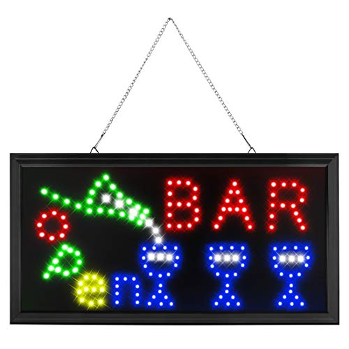 Bar Neon Sign for Business - Led Bar Open Signs - with Hanging a Metal Chain, Sized 19