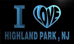 v61016-b I Love HIGHLAND PARK , NJ NEW JERSEY City Limit Neon Light Sign