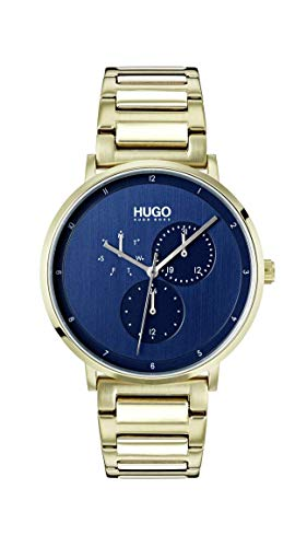 Price comparison product image Hugo Men's Guide - Ultra Slim Quartz Ice Gold IP and Ice Gold Bracelet Casual Watch,  Color: Blue (Model: 1530011)